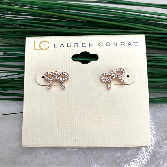 Lauren Conrad jewelry, rose gold bow earrings
